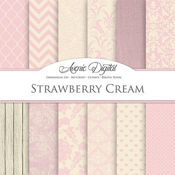 Strawberry Crea Wedding Digital Paper patterns - bridal pink backgrounds