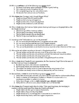 Slaughterhouse Five 35-Question Multiple Choice Test