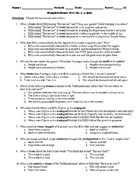 Slaughterhouse Five 50-Question Multiple Choice Quizzes or Test
