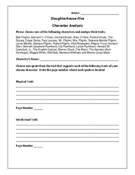 Slaughterhouse-Five - Character Analysis Activity - Kurt Vonnegut