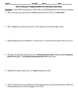 Slaughterhouse Five Socratic Seminar Discussion Questions