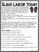 Slave Labor Today Reading Comprehension Worksheets