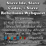 Slave Life, Slave Codes, and Slave Rebellions