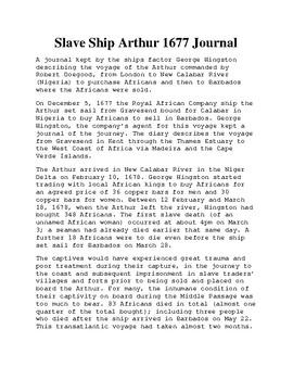 Slave Ship Arthur 1677 Journal