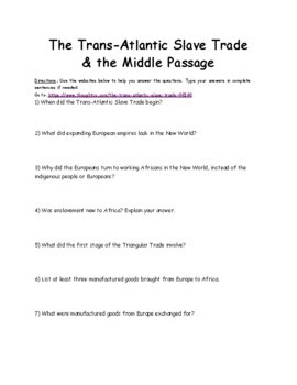 Slave Trade and Slavery Webquest