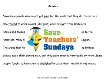 Slave trade Lesson plan and Worksheets