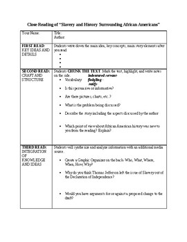 Slavery Close Read Worksheet
