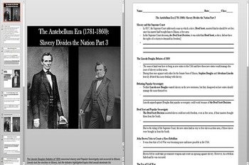 Slavery Divides The Nation Before the Civil War Powerpoint AND Notes Worksheet