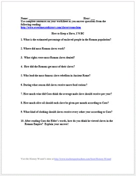 Slavery In Ancient Rome Primary Source Worksheet