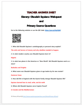 Slavery: Olaudah Equiano Webquest and Primary Source Questions