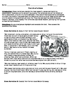 Slavery Primary Source Analysis
