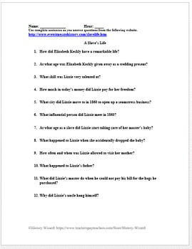 Slavery Primary Source Worksheet: A Slave's Life