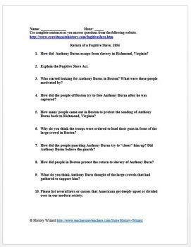 Slavery Primary Source Worksheet: Return of a Fugitive Slave, 1854