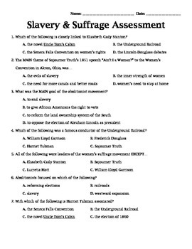 Slavery & Suffrage Assessment 4th Grade SS