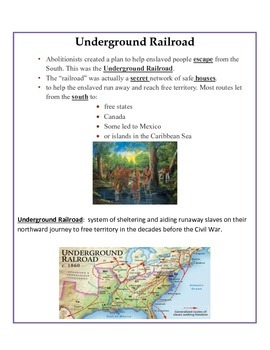Slavery & Suffrage Interactive Notes 4th Grade SS