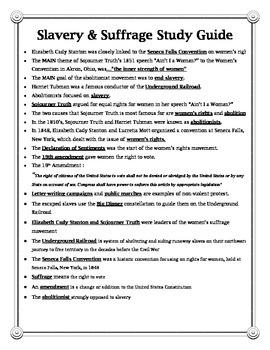 Slavery & Suffrage Study Guide