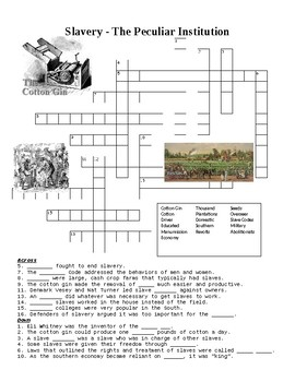 Slavery - The Peculiar Institution Crossword or Web Quest