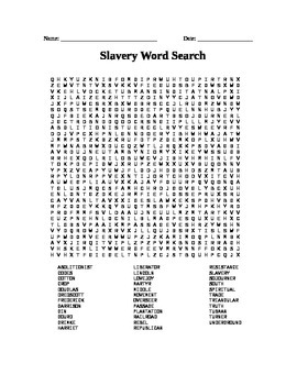 Civil War: Slavery Word Search
