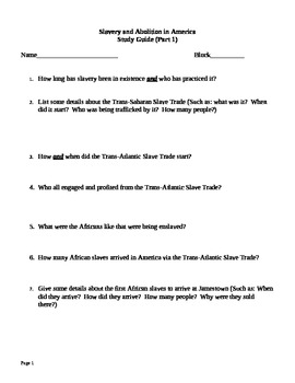 Slavery and Abolition Study Guide: United States History