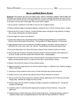Slavery and African-American Project with Detailed Rubric