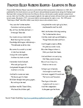Slavery and Education Primary Source Poem Activity