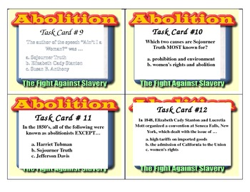 Slavery and Suffrage Task Cards 4th Grade CC
