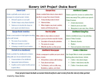 Slavery and the Underground Railroad Project Choice Board