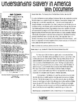 Slavery in America - Civil War Era Document Worksheets
