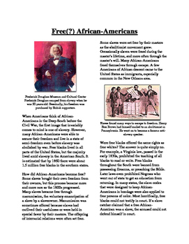 Informational Text - Slavery in America: Free (?) African Americans (Sub Plans)