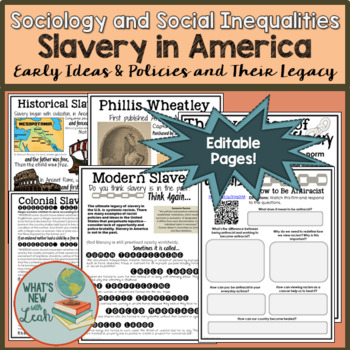 Slavery in America Gallery Walk with Note Pages