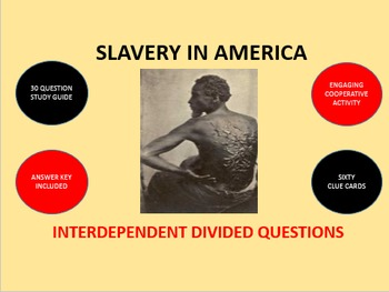 Slavery in America: Interdependent Divided Questions Activity