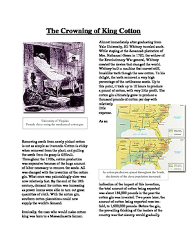 Info Reading Text - Slavery in America: King Cotton (No Prep/Sub Plans)