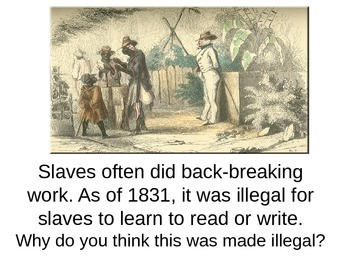 Slavery in America Power Point Discussion and Writing Response
