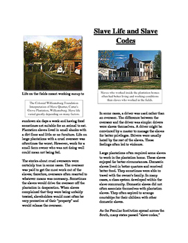 Info Reading Text - Slavery in America: Slave Life and Slave Codes (Sub Plans)