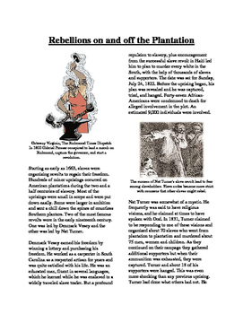 Informational Text - Slavery in America: Slave Rebellions (No Prep/Sub Plans)