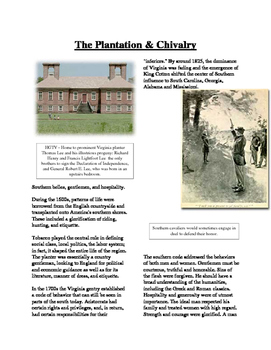 Informational Text - Slavery in America: The Plantation and Chivalry (Sub Plans)