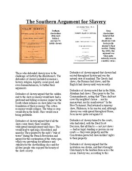 Informational Text-Slavery in America: Southern Argument for Slavery (Sub Plans)