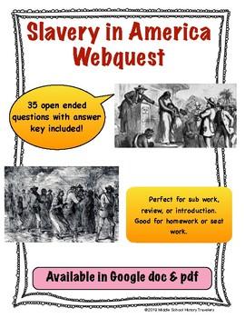 Slavery in America Webquest (History of American Slavery Webquest)