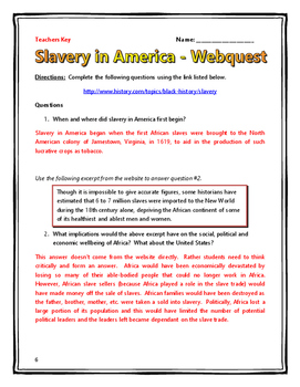 Slavery in America - Webquest with Key