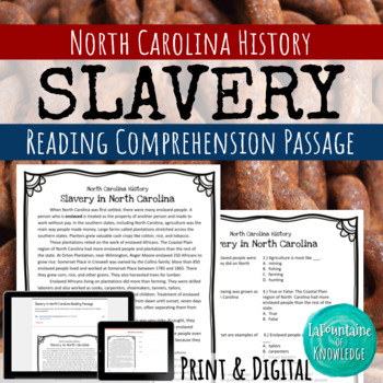 Slavery in North Carolina Reading Comprehension Passage