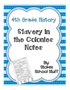 Slavery in the Colonies Notes
