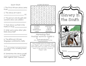 Slavery in the South Brochure