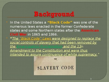 Slavery in the United States - Black Slave Codes