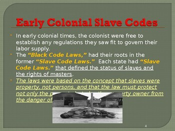 Slavery in the United States - Black Slave Codes & Laws