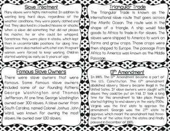 Slavery in the United States: Reading Fluency and Comprehension Task Cards