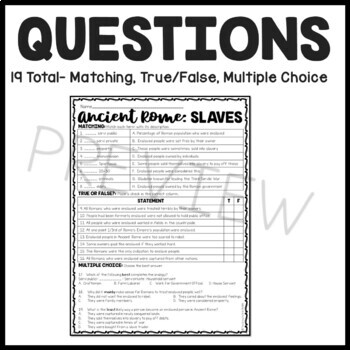 Slaves in Ancient Rome Reading Comprehension Worksheet