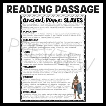Slaves in Ancient Rome Reading Comprehension Worksheet