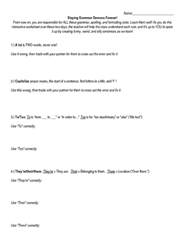 The BEST Grammar Worksheet, Page 1 of 4 (Sample)