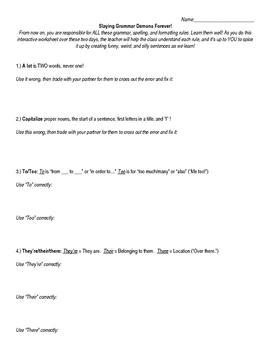 The BEST Grammar Worksheet, Page 1 of 4 (Sample)