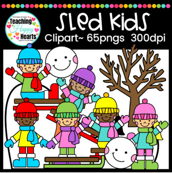 Sled Kids Clipart